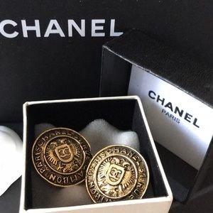 Authentic CHANEL Vintage CC Logo Clip-On Earrings